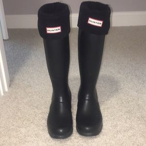 Black Hunter Boots with Black Socks/Liners